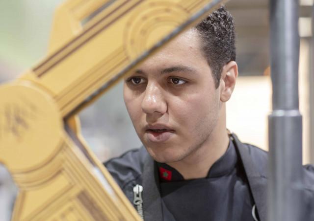 Yassine Lamjarred working on his chocolate showpiece